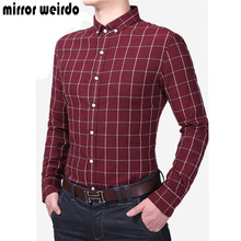 2016 New Fashion Mens Shirts Chemise Homme Tartan Clothing Slim Fit Long Sleeve Plaid Shirt Men Casual Camisa Social Masculina