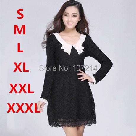 S,M,L,XL,XXL,3XL Black,White 2015 New Women Lace Dress Long Sleeve plus size woman clothes office dress workwear tunic vestidos(China (Mainland))