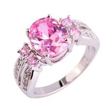 Lingmei Хороший Модные Драгоценности Розовый и Белый CZ Серебряный Цвет Кольцо Сладкий женщины Обручальное Размер 6 7 8 9 10 11 Свободный Корабль Оптовая(China (Mainland))