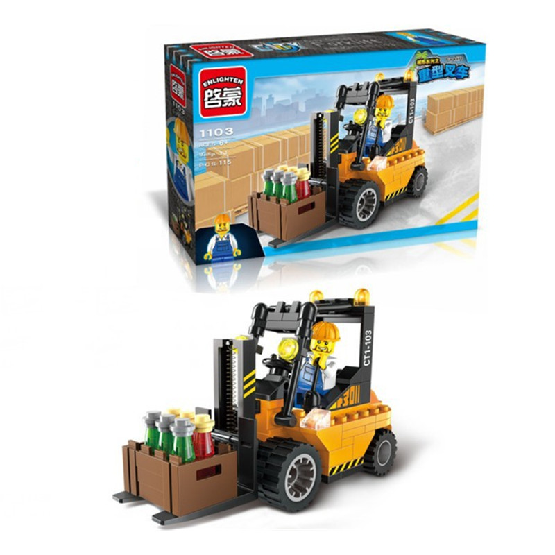 The Lowest Price In The Year !! 2017-Chinese New Year Clearance Forklift Truck Building Blocks Toy Kit(China (Mainland))