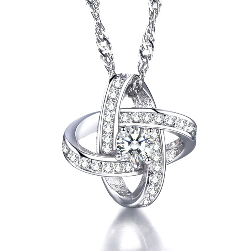 Fashion Cute Silver Plated Heart Necklace Crystal Women's Necklaces Neckless Women Necklet Collar Colar de Plata Valentine's Day(China (Mainland))