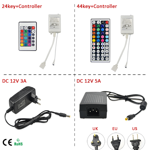 Free Shipping 12V 3A / 5A Switch Power Supply Driver AC90-240V; 24 / 44Key IR Remote Controller for LED Strip Lights(China (Mainland))
