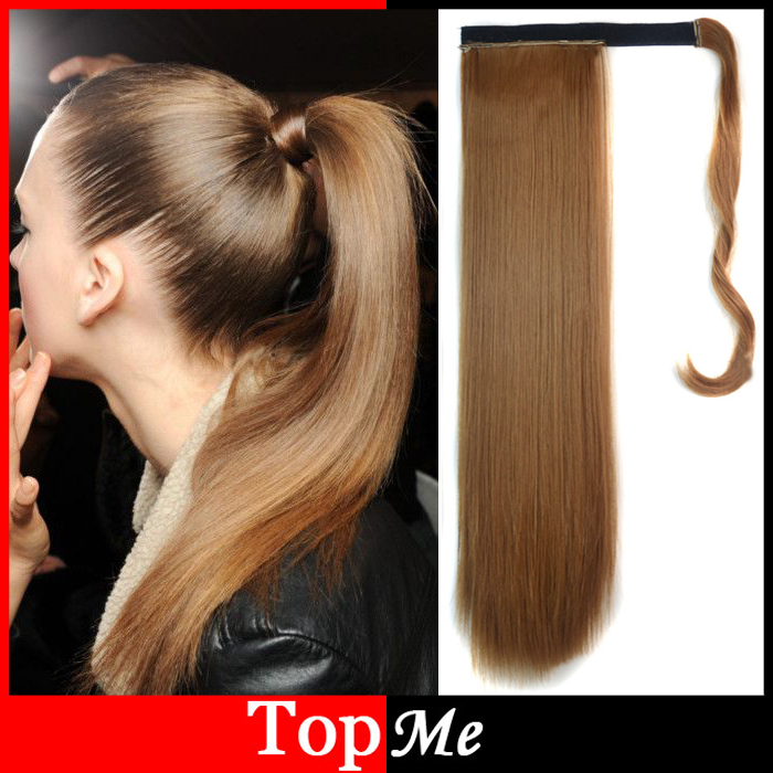 Fashion Woman Ponytails Long Hairpiece Magic Paste Natural Straight Synthetic Lady Ponytail Hair Extensions Girls Pony Tail Hair(China (Mainland))