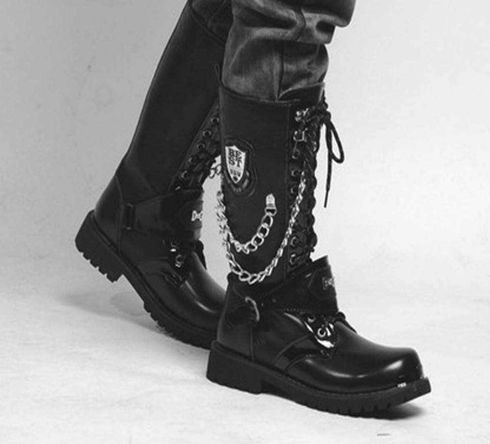 2013 TOP Fashion Sreet PUNK Rock # Super COOL MEN'S High Ankle Army