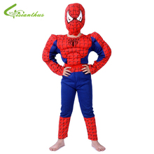 Boys Halloween Costumes Spider-Man Sets Cosplay Stage Wear Clothing Muscle Spiderman Children Kids Party Clothes Free Drop Ship(China (Mainland))