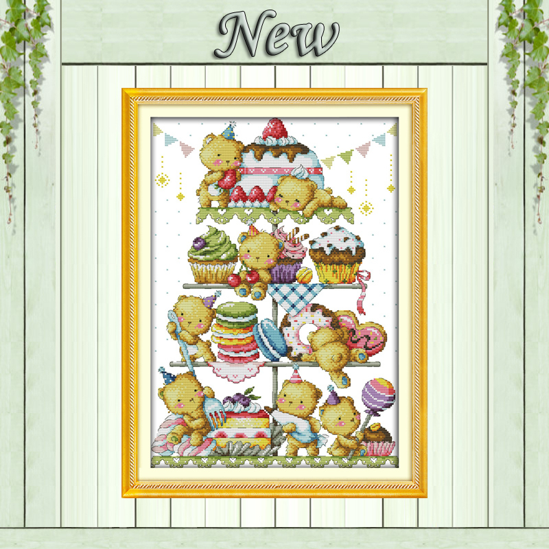 Sweet little bear cake decor painting counted print on canvas DMC 11CT 14CT Chinese Cross Stitch kits embroidery needlework Sets(China (Mainland))