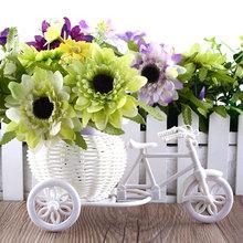 2016 vendita calda nuova plastica bianco triciclo bici disegno del fiore cestino contenitore per la pianta del fiore casa decorazione weddding(China (Mainland))