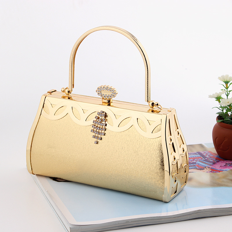 Factory direct sell high-end Europea and American style gold evening bag bridal handbag elegant party prom dinner clutch handbag(China (Mainland))