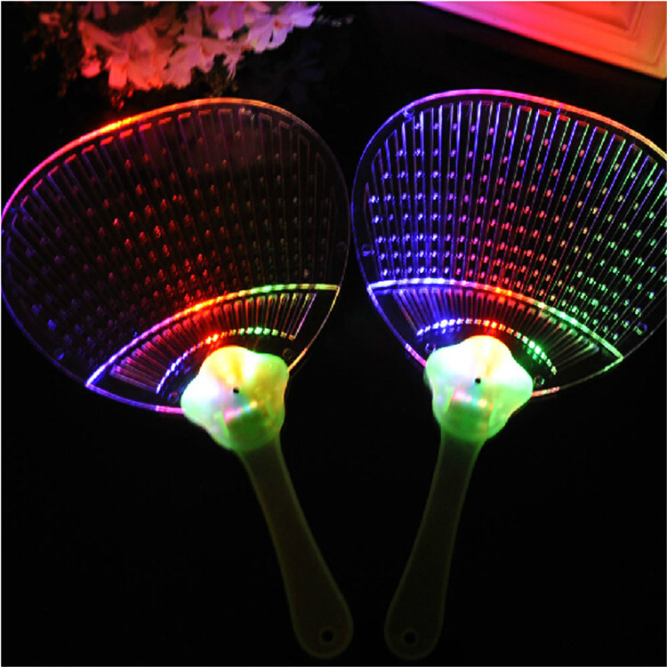 New products 15pcs/lot Novelty LED Flashing Fan Colorful Acrylic Night Glowing Fan Light-up Toys Concert Party Favors Props(China (Mainland))