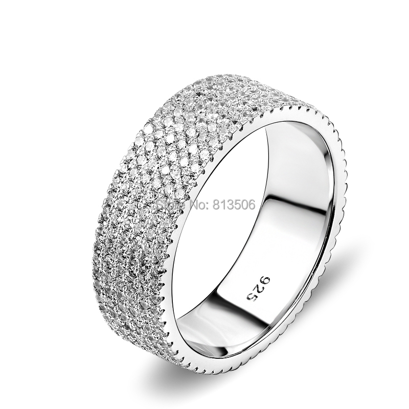 GNJ0474 New Promotion 1pc Genuine 925 Sterling Silver Jewelry Wedding Rings Fashion Full CZ Finger Women - Happy's store--Honesty trade store