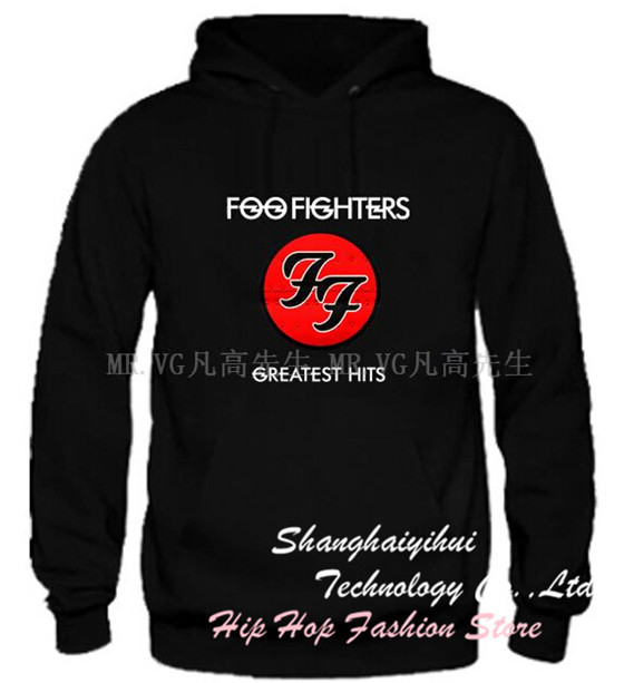 New Arrival Rock Band Hip Hop Allover Foo Fighters Logo Fleece Hoodie GREATEST HITS Lover's Music Sweatshirt Gift(China (Mainland))