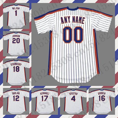 Retro Custom GARY CARTER DYKSTRA GOODEN HOWARD JOHNSON jersey DARLING HERNANDEZ STRAWBERRY jersey White Mens Stitched jerseys(China (Mainland))