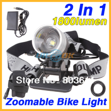 2 In 1 1800Lumens Zoom CREE XML T6 LED Bicycle Bike Light Lamp Headlight+ Battery Pack