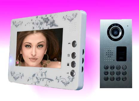 """Promotion7"""" Color TFT LCD Screen video door phone , Metal camera with password and fingerprint unlocking ,luxury intercom system(China (Mainland))"""