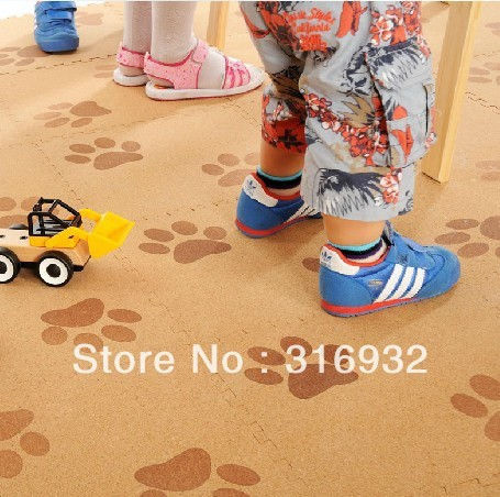 WM018 Dog paw design Baby Floor Mat Children's Environmental Tasteless Cork Wood  style Mat, 9 pcs/pack