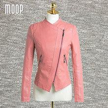 Pink PU leather jackets and coats women slim motorcycle jacket off-center zip placket coats veste en cuir femme LT457 FREE SHIP