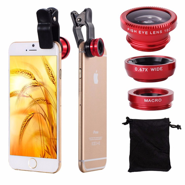 5in1 Mobile Phone Lens Kit Wide Angle Macro Fish Eye Lenses For Xiaomi redmi note 3 Meizu Nokia Huawei ZTE HTC Clips Mini Tripod