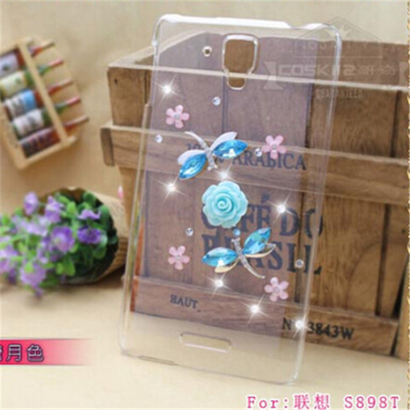 New Luxury 3D Dragonfly bling Crystal Rhinestone diamond Mobile phone Hard case back cover For Lenovo S8 S898t Free shipping(China (Mainland))