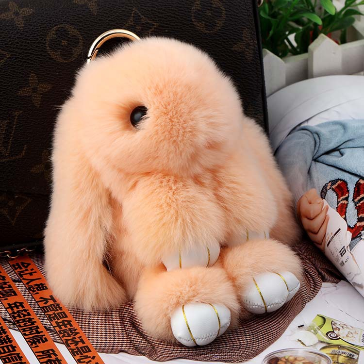 Real Rabbit Fur Doll Keychain for Womens Bag Charms or Car Pendant Key Chain jewelry pendant Keychain fur bags keychain(China (Mainland))