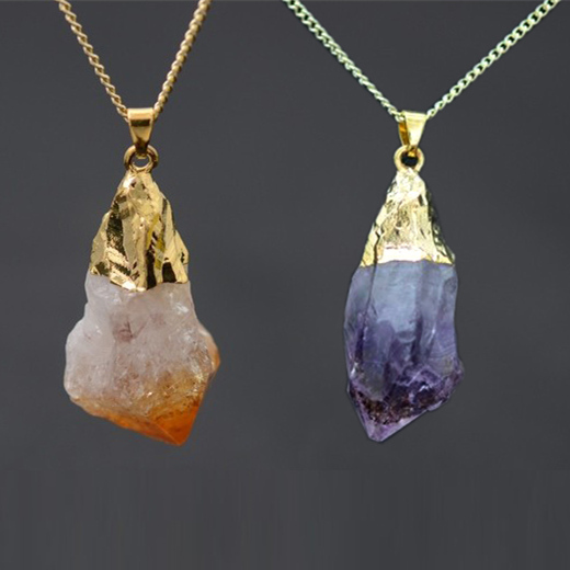 18K Gold Plated Rough Natural Stone Necklaces Joias Ouro Banhado Amethyst Crystal Druzy Pink Pendant Quartz Necklace For Women(China (Mainland))