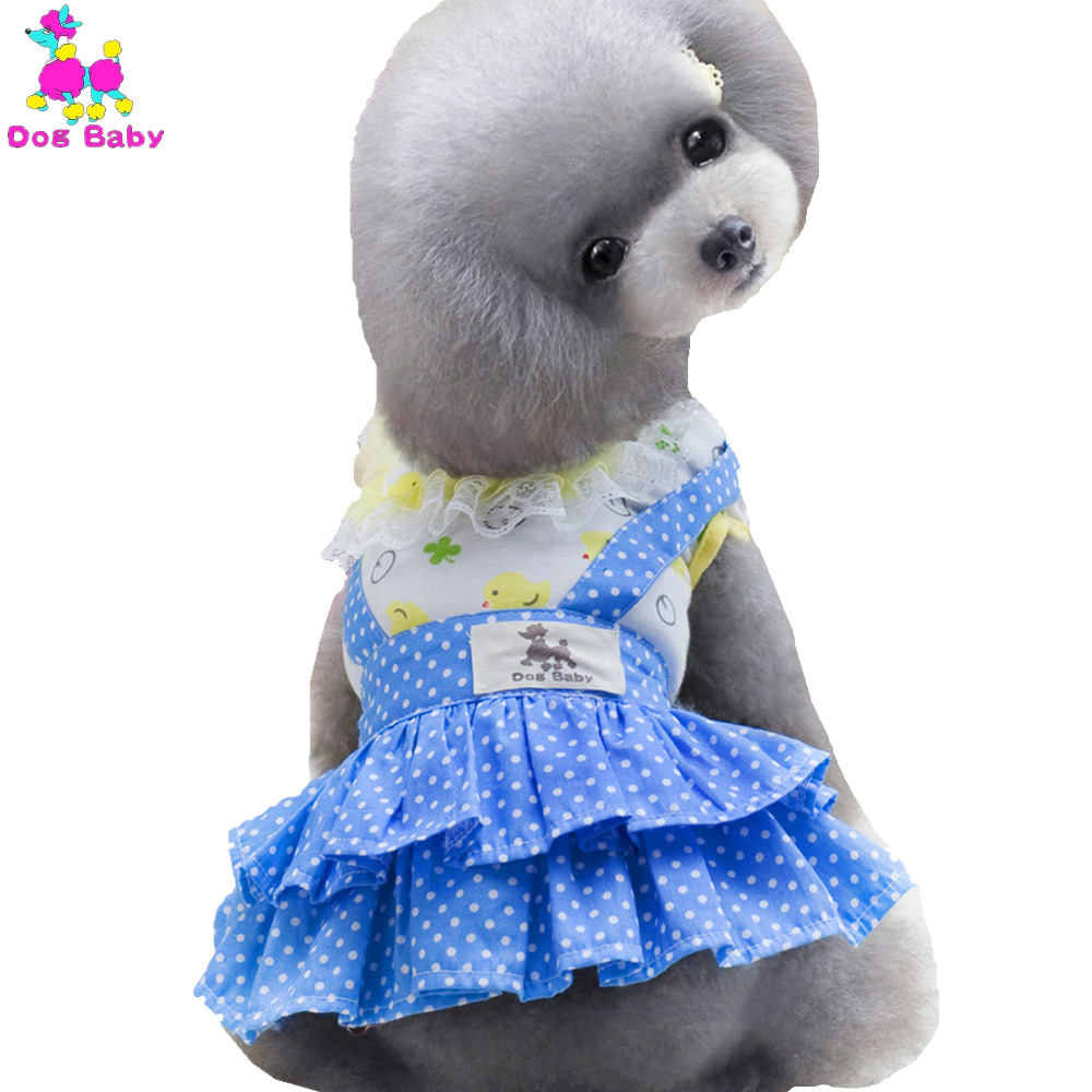 Small Dog Dress 100% Cotton Dot Summer Pet Dresses Yellow Blue Color Chihuahua Clothes Princess Dress For Dogs Cat Free Shipping(China (Mainland))