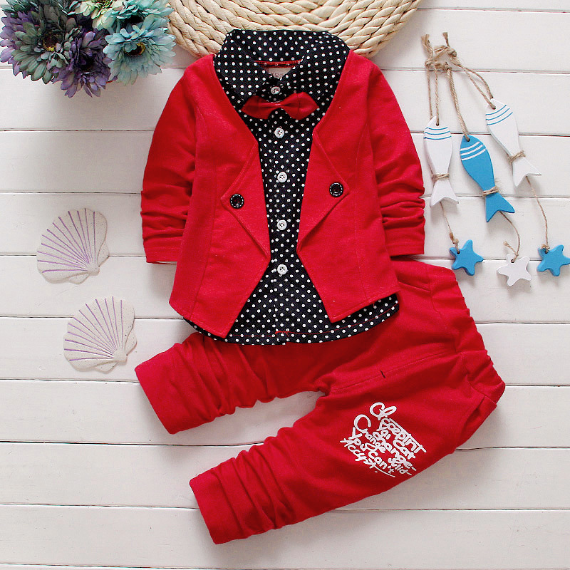 2016 new gentleman baby boys clothing set Children spring autumn coat + pants fake three-piece suit baby kids clothes suit(China (Mainland))