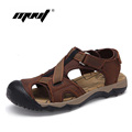 Top Quality Men Sandals Soft Leather Men Shoes Casual Leather Sandals Handmade Outdoor Beach Sandals