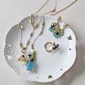 Les Nereides Eiffel Tower in Paris series Earring Ring Neckace Sets Enamel Glaze Fashion Jewelry