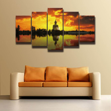 Buy Printed Buddha picture painting sunset landscape modern wall art decor living room home decor HD print art canvas Wholesale for $7.48 in AliExpress store