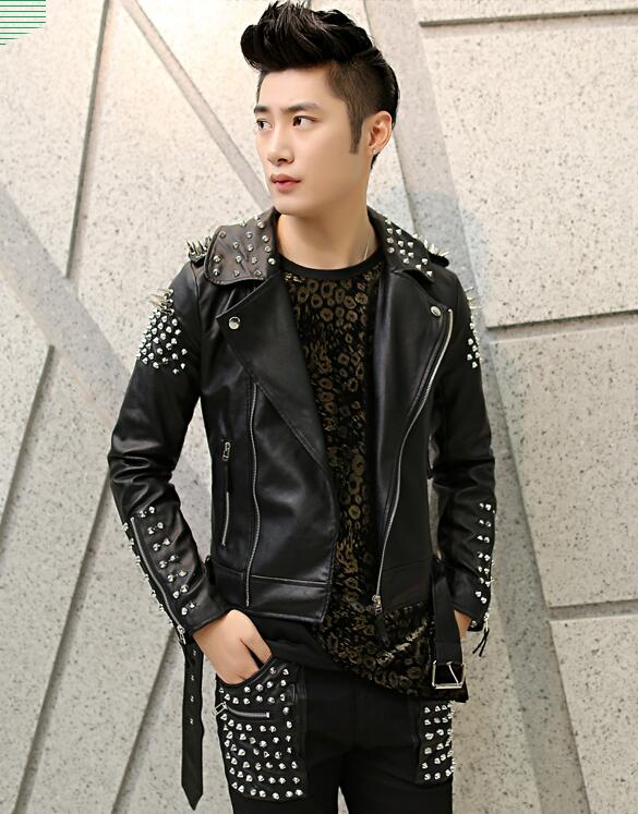 Cool Fashion Mens Punk Metal Studded Rivet Cool Motorcycle Racer Faux Leather Skinny Jacket Coat(China (Mainland))