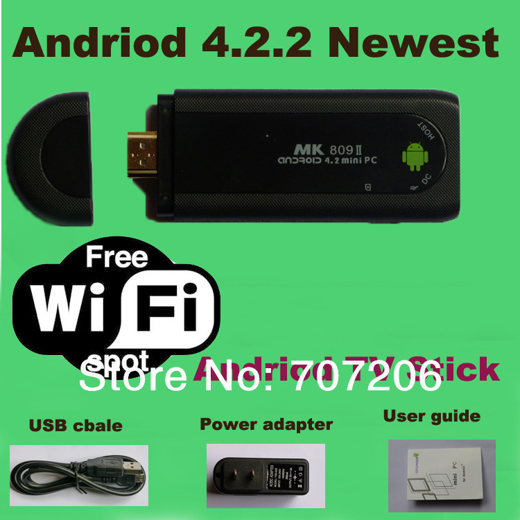 2014 Newest Original MK809 Android 4.2 HDMI TV Stick TV Dongle Rockship RK3066 Dual Core 1GB 8GB Mini PC Android Free Shipping(China (Mainland))