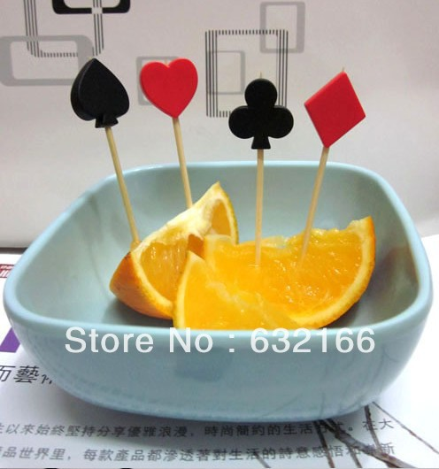 poker cards toothpick cocktail party forks 12pcs/bag,party decoration,good quality - Sweet store