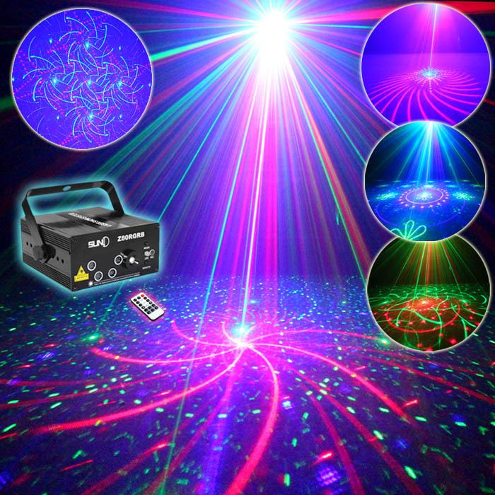 SUNY Remote 5 Lens 80 Patterns RG RB Laser BLUE LED Stage Lighting DJ Show Light Green Red Blue Home Professional Light(China (Mainland))
