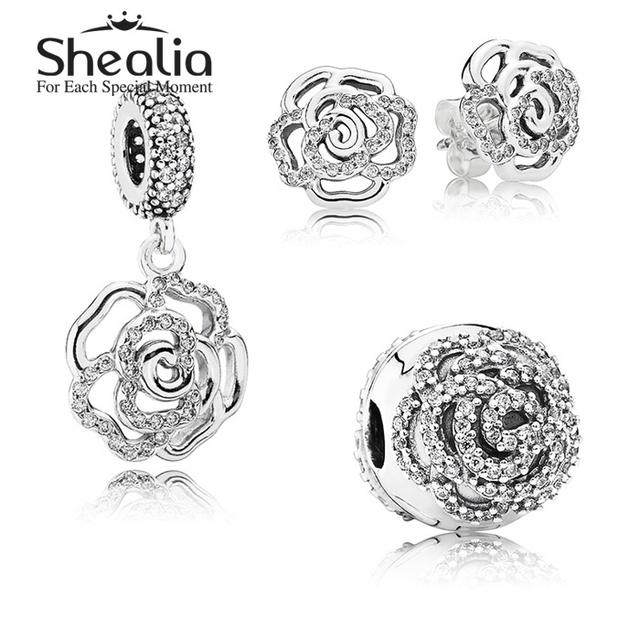925 чистое серебро цветы ювелирные комплект - проложить роза кулон / серьги-гвоздики / зажимы для женщины своими руками аксессуары SHEALIA