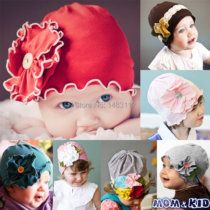 2014 New!!Beautiful baby hats caps Big Flower Soft Beanies Hats For 0-3 Years Infant Baby Kids fashion hat 6 colors H18941QQ<br><br>Aliexpress