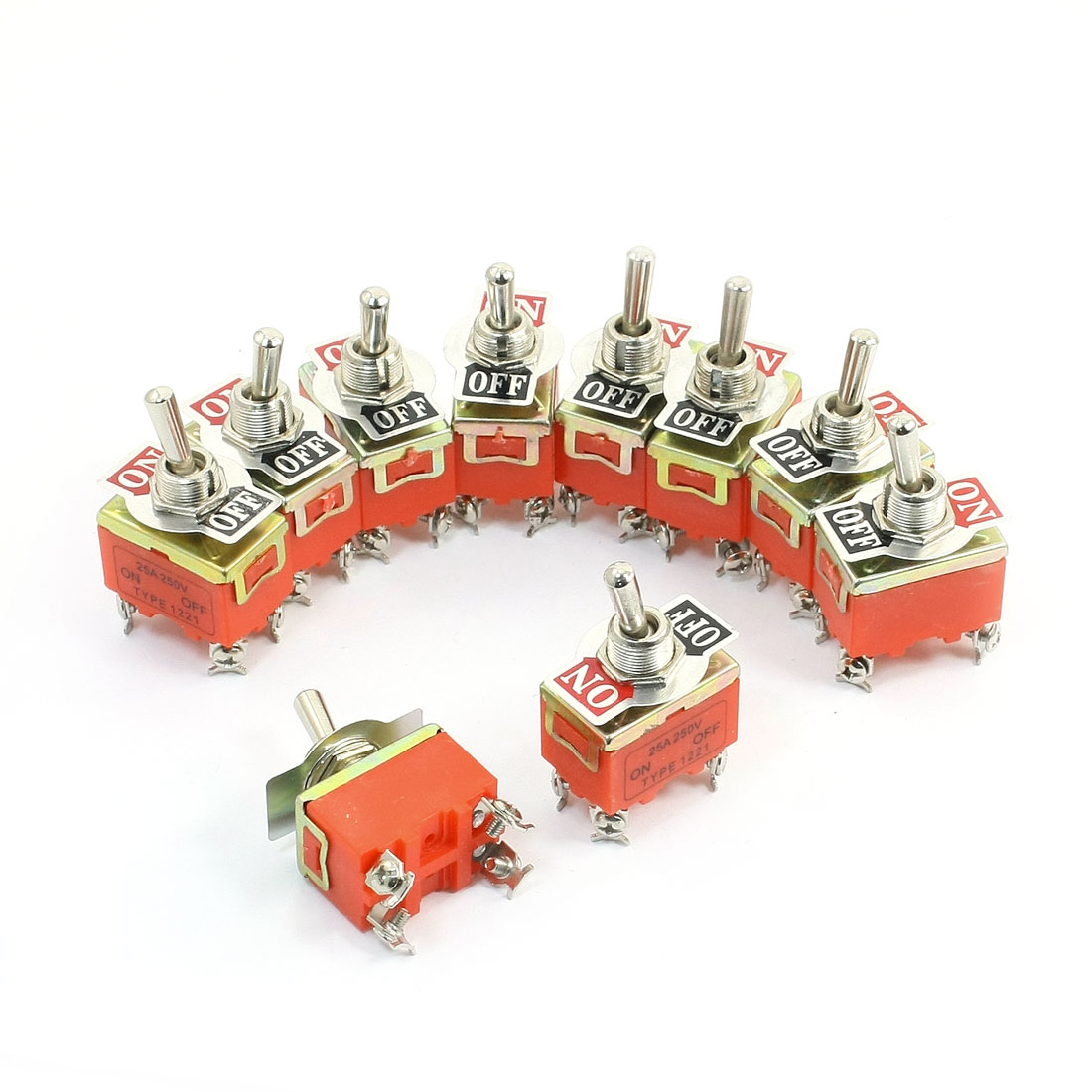 10 Pcs Dpst On/Off 2 Position Panel Mounted Toggle Switch 250V 25A(China (Mainland))