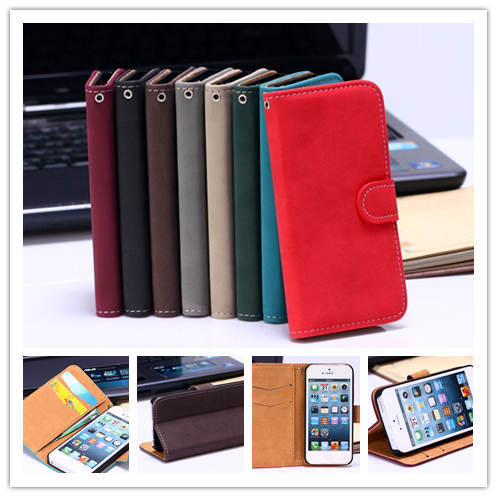 Luxury Retro Leather Bag case With Stand Function Wallet purse Card Holder Slot pouch Flip cell phones case For iphone 4 4s 5 5s(China (Mainland))