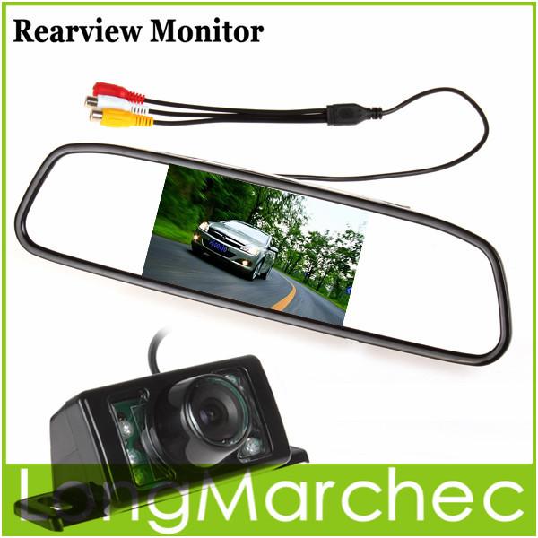 "Car Parking Kit With 4.3"" TFT LCD Display Car Monitor Rear View Mirror Monitor + 7 IR Night Vision RearView Reverse Car Camera(China (Mainland))"