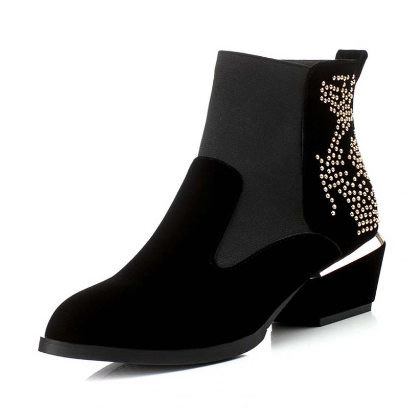 Retro Red wine Rhinestone Women Ankle Boots New Flock Fashion Pointed Toe Hoof Heels High Boots Winter Motorcycle Boots <br><br>Aliexpress
