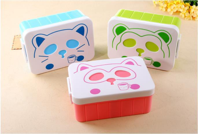 free shipping creative cute cartoon student lunch meal box microwave oven bento box spoon food. Black Bedroom Furniture Sets. Home Design Ideas