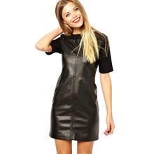 New 2015 Plus XXL size summer women fashion PU leather dress slim round collar short sleeved women's casual mini dresses # 6573(China (Mainland))