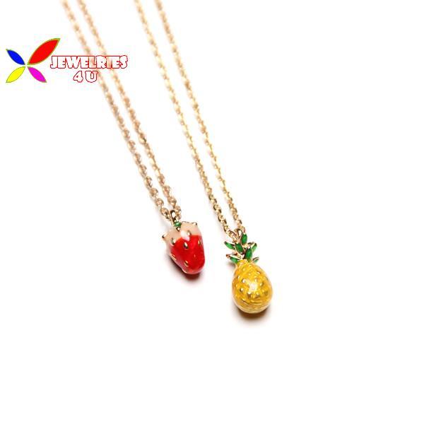 2015 fashion designer cute enamel strawberry pineapple banana fruit false collar choker pendant necklace for women colar coleira(China (Mainland))