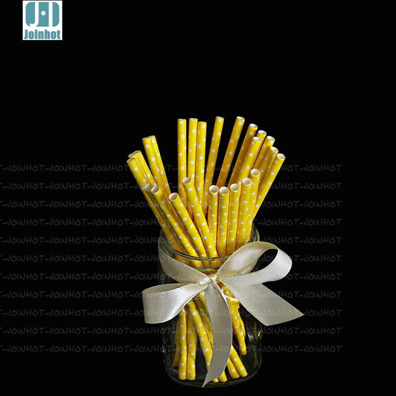 Free Shipping 25pcs/lot Polka Dot yellow creative drinking straw paper drinking tubes Decorations For Wedding(China (Mainland))