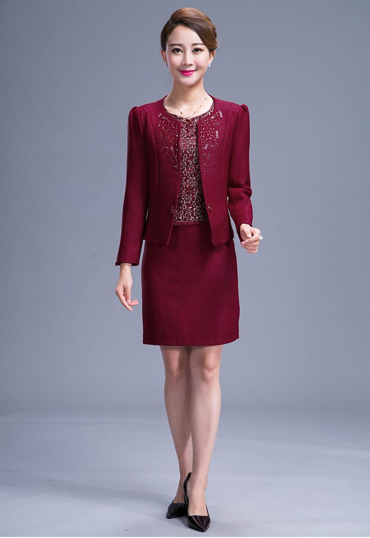 2016 New Middle Aged Mother Dress Dress Suit Heavy Beading Sewing Zipper 2 Pieces Plus Size Wine Red Women Formal Dress Suits