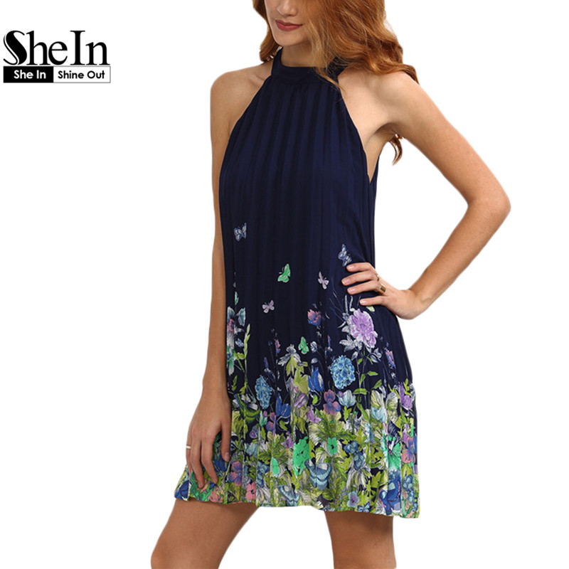 SheIn New Fashion Women Summer Casual Dresses Ladies Multicolor Floral Print Round Neck Sleeveless Shift Dress(China (Mainland))