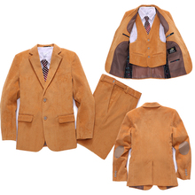 Velours veste costume pour garçons robe formelle enfants Blazers vestes set enfants costume de mariage 3 peça set vêtements bébé vêtements(China (Mainland))