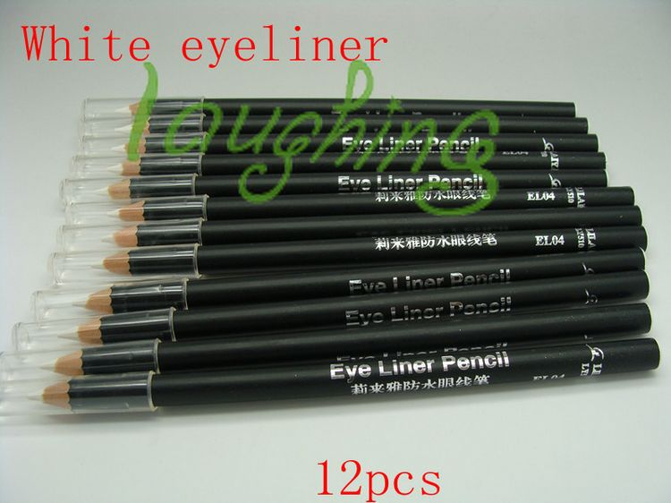 Free Shipping 12pcs/set Waterproof Liquid Eye Liner white Eyeliner Pencil Makeup Pen#el04(China (Mainland))