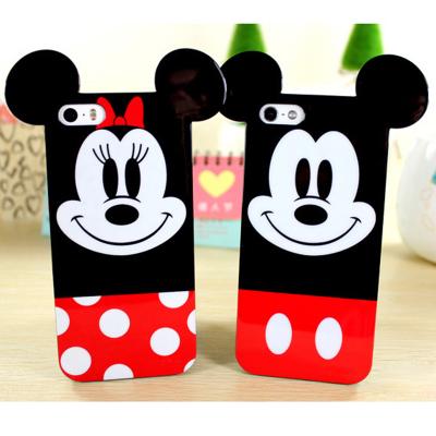 Fashion 3D Cute Soft TPU Rubber Cartoon MIckey Minnie Mouse Ears Back Case Cover Celular For iphone 4 4s 5 5s 6 6 plus Capa Para(China (Mainland))