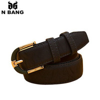 2015 brand pu leather belts for women golden metal buckle high grade natural grain best choice for you dress free shipping