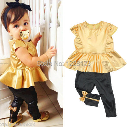 2014 New Fashion Baby Girls Childs Kids Gold Dress Tops + Legging Pants Sets Outfits Suit 2PCS Free shipping(China (Mainland))